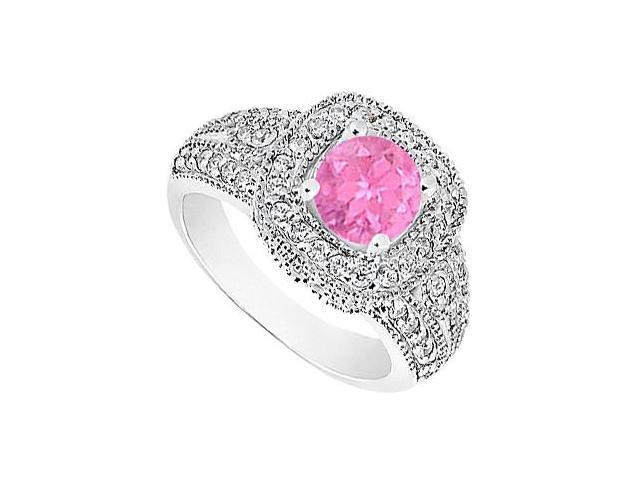 Created Pink Sapphire  CZ Milgrain Engagement Ring 14K White Gold 1.25.ct.tgw
