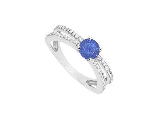 Sapphire and Diamond Engagement Ring  14K White Gold - 0.75 CT TGW