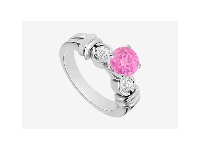 Genuine Diamond and Pink Sapphire Engagement Ring in 14K White Gold 0.80 Carat TGW