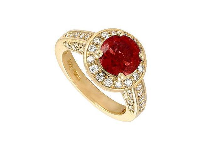 Ruby and Diamond Engagement Ring  14K Yellow Gold - 4.00 CT TGW