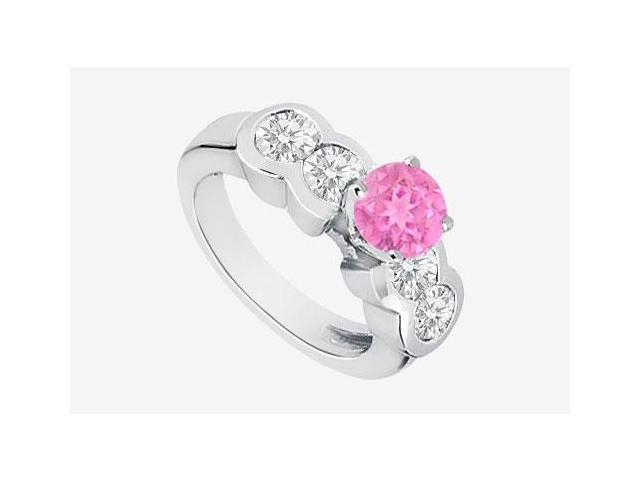 Pink Sapphire and Diamond Engagement Ring in 14K White Gold 2.20 Carat TGW