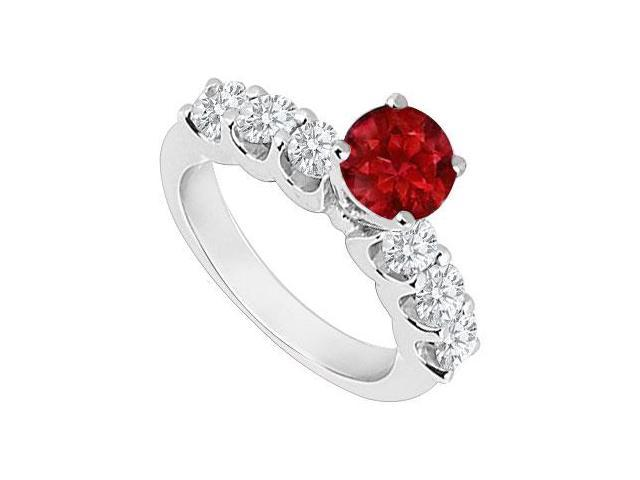 14K White Gold  Ruby and Diamond Engagement Ring 0.80 CT TGW
