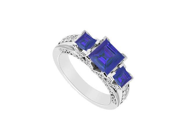 Created Sapphire and Cubic Zirconia Three Stone Engagement Ring in 14K White Gold 2.75.ct.tgw