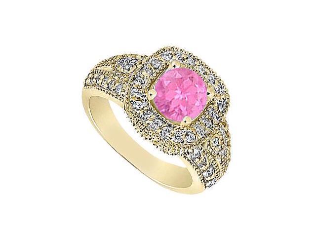Milgrain Engagement Ring Created Pink Sapphire  Cubic Zirconia in 14K Yellow Gold 1.25.ct.tgw