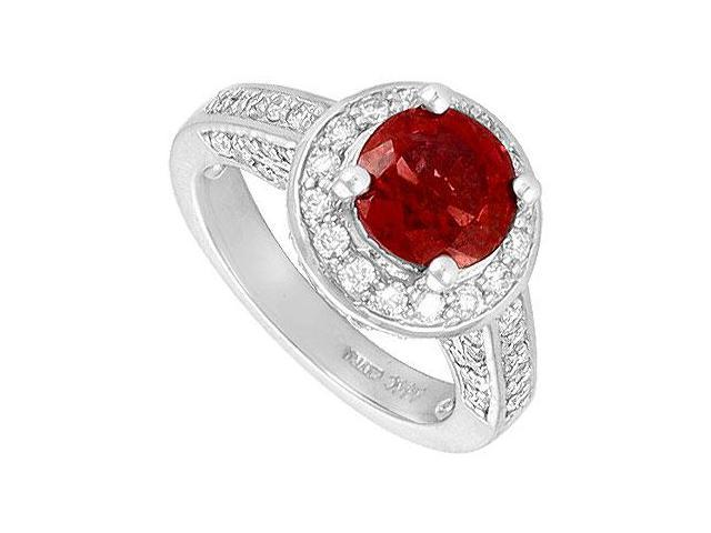 Ruby and Diamond Engagement Ring  14K White Gold - 4.00 CT TGW