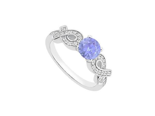 Created Tanzanite Engagement Rings with CZ in 14K White Gold 1.00 ct.TGW