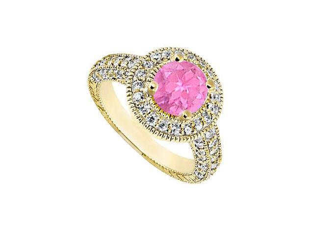 Created Pink Sapphire Engagement Rings with CZ Milgrain Styling in 14K Yellow Gold 2.15.ct.TGW