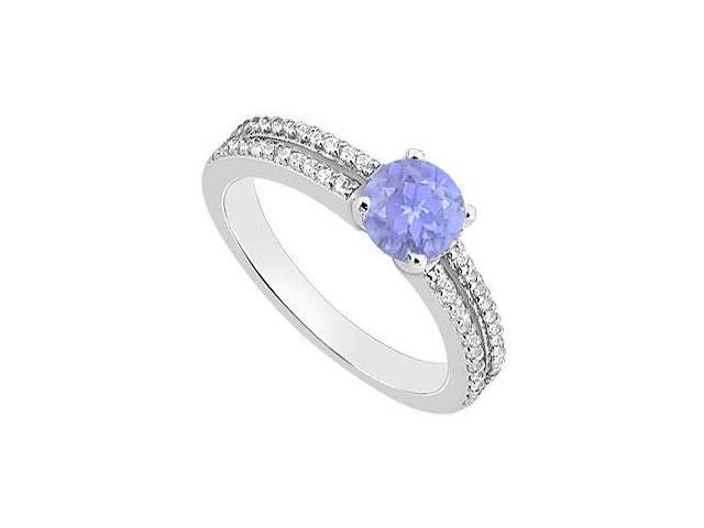 December Birthstone Created Tanzanite Engagement Rings with CZ 14K White Gold 1.00.ct TGW