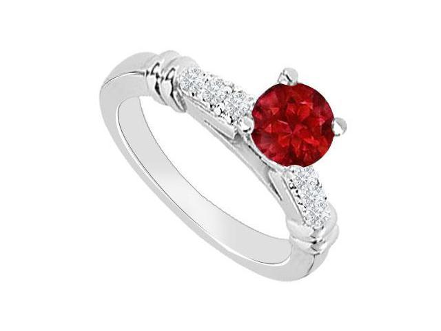 14K White Gold  Ruby and Diamond Engagement Ring 0.60 CT TGW