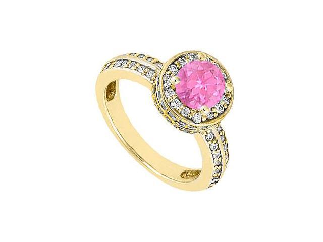 September Birthstone Created Pink Sapphire  CZ Halo Engagement Ring 14K Yellow Gold 1.00.ct.tgw