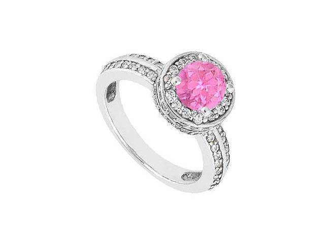 September Birthstone Created Pink Sapphire  CZ Halo Engagement Ring 14K White Gold 1.00.ct.tgw