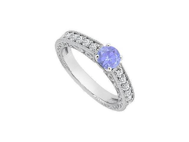 Created Tanzanite Milgrain Engagement Rings with CZ in 14K White Gold 1 ct.TGW