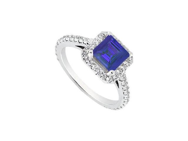 Square Halo Engagement Rings with Created Sapphire and CZ in 14K White Gold 1.00.ct.tgw