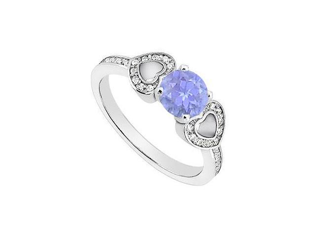 Created Tanzanite Heart Shaped Engagement Rings with CZ in 14K White Gold 1.00.ct.TGW