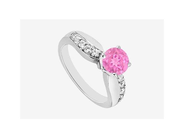 Diamond and Pink Sapphire Engagement Ring in 14K White Gold with 0.75 ct TGW