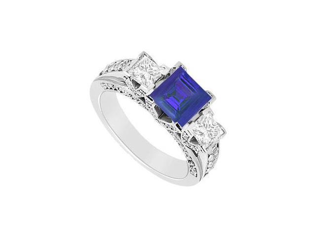 Square Created Sapphire and Cubic Zirconia Three Stone Engagement Ring 14K White Gold 1.50.ct.tw