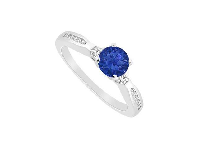 September Birthstone Created Sapphire and CZ Engagement Ring 14K White Gold 0.75.ct.tgw