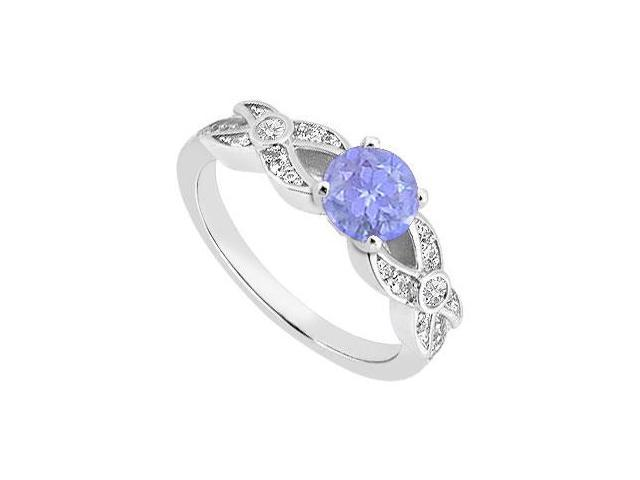 December Birthstone Created Tanzanite Engagement Rings with CZ 14K White Gold 1.00.ct.TGW
