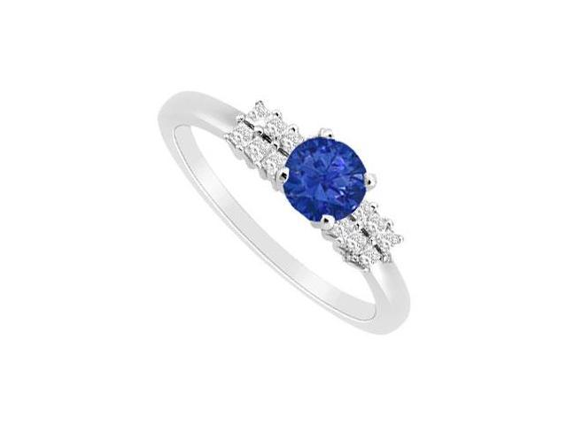 September Birthstone Created Sapphire and Cubic Zirconia Ring in 14K White Gold 0.75.ct.tgw