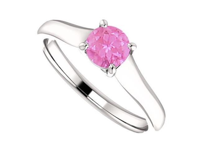 September Birthstone Pink Sapphire Engagement Ring in 14K White Gold 0.50 CT TGW