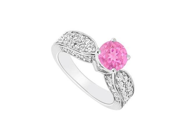 14K White Gold  Pink Sapphire and Diamond Engagement Ring 1.50 CT TGW