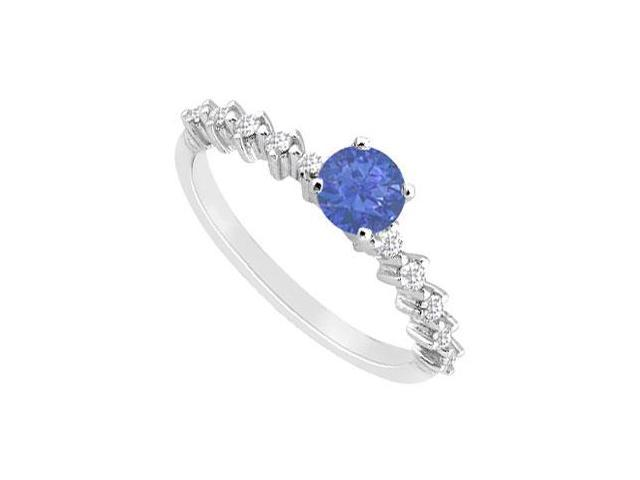 Created Sapphire and Cubic Zirconia Engagement Ring in 14kt White Gold 0.75.ct.tgw