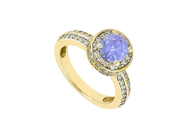 December Birthstone Created Tanzanite  CZ Halo Engagement Ring 14K Yellow Gold 1.00.ct.TGW