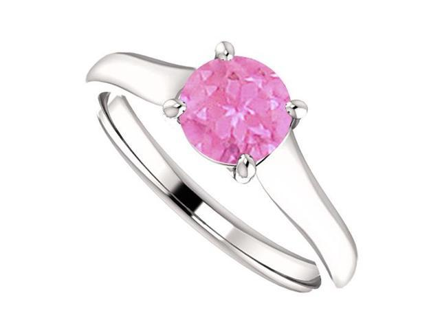 September Birthstone Created Pink Sapphire Engagement Ring in 14K White Gold 1 CT TGW