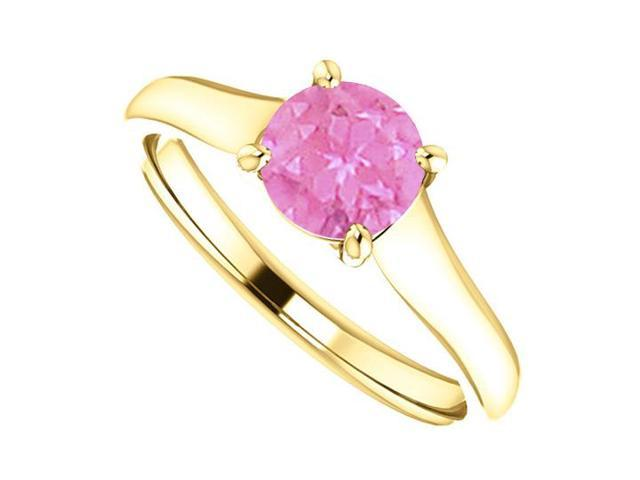 September Birthstone Created Pink Sapphire Engagement Ring in 14K Yellow Gold 1 CT TGW