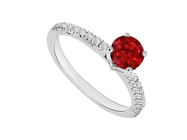 14K White Gold  Ruby and Diamond Engagement Ring 0.75 CT TGW