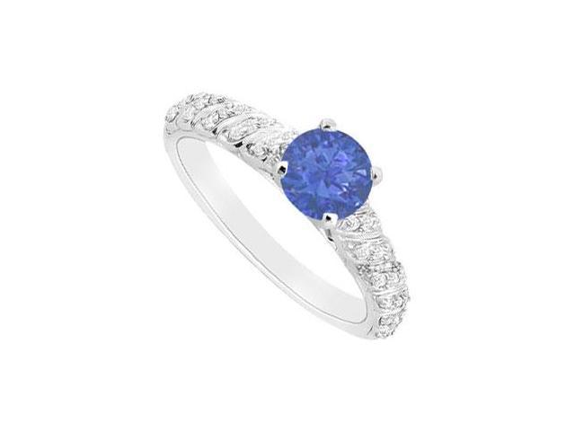 Sapphire and Diamond Engagement Ring  14K White Gold - 0.75 CT TGW