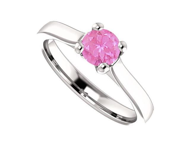September Birthstone Pink Sapphire Engagement Rings in 14K White Gold 0.50 CT TGW