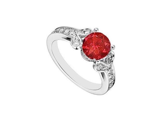 14K White Gold Created Ruby and  Cubic Zirconia Engagement Ring 4.00 CT TGW