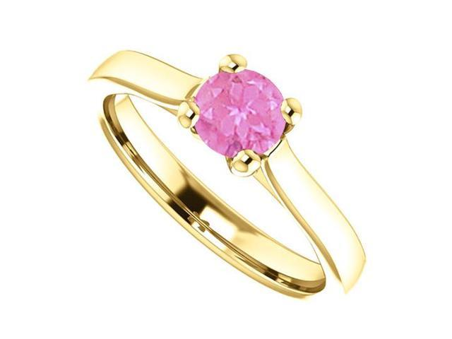 September Birthstone Pink Sapphire Engagement Rings in 14K Yellow Gold 0.50 CT TGW