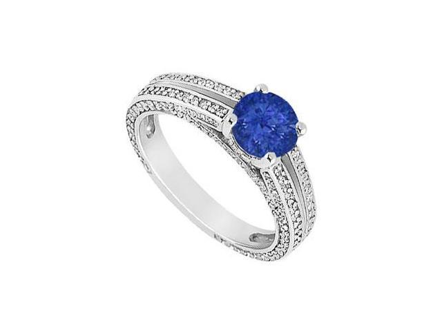 Sapphire and Diamond Engagement Ring  14K White Gold - 3.00 CT TGW