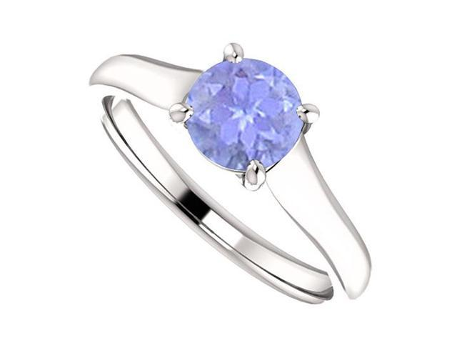 December Birthstone Created Tanzanite Engagement Rings in 14K White Gold 1 CT TGW