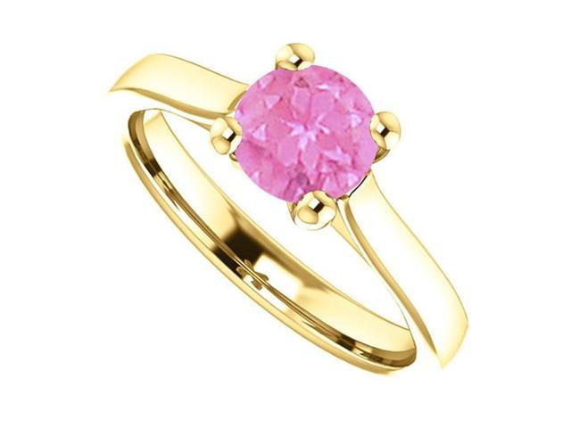 September Birthstone Created Pink Sapphire Engagement Rings in 14K Yellow Gold 1 CT TGW