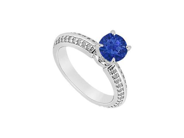 Sapphire and Diamond Engagement Ring  14K White Gold - 1.00 CT TGW