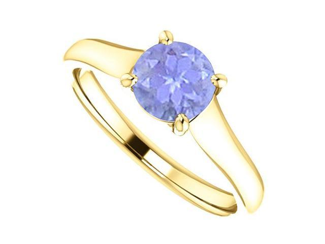 December Birthstone Created Tanzanite Engagement Rings in 14K Yellow Gold 1 CT TGW