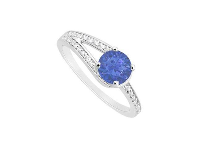 Created Sapphire and Cubic Zirconia Motif Engagement Ring in 14K White Gold 0.75 ct.tgw