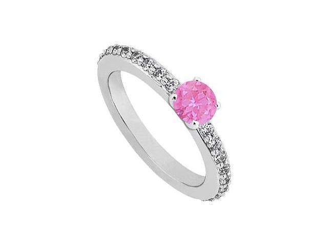 September Birthstone Pink Sapphire  Diamond Engagement Rings 14K White Gold 0.75 CT TGW