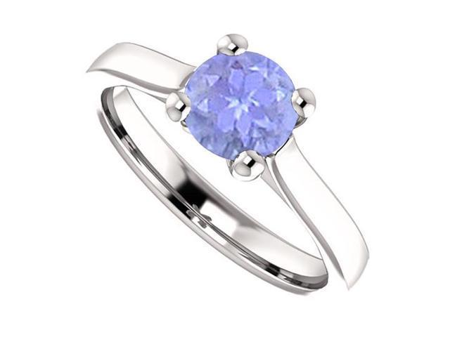 December Birthstone Created Tanzanite Engagement Rings in 14K White Gold 1 CT TGW