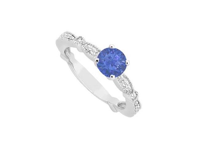 September Birthstone Created Sapphire and CZ Milgrain Engagement Ring 14K White Gold 0.75 ct.tw