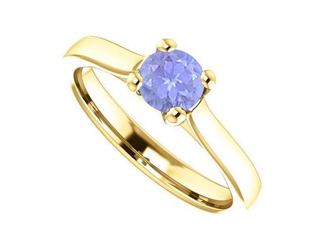 December Birthstone Tanzanite Engagement Rings in 14K Yellow Gold 0.50 CT TGW