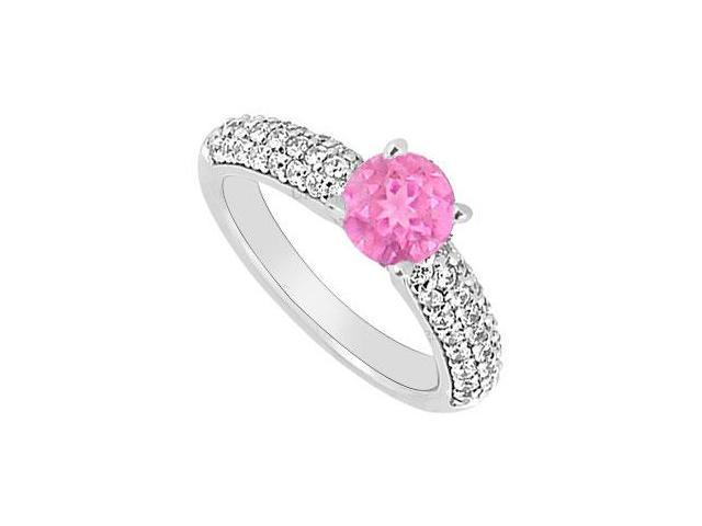 14K White Gold  Pink Sapphire and Diamond Engagement Ring 1.10 CT TGW