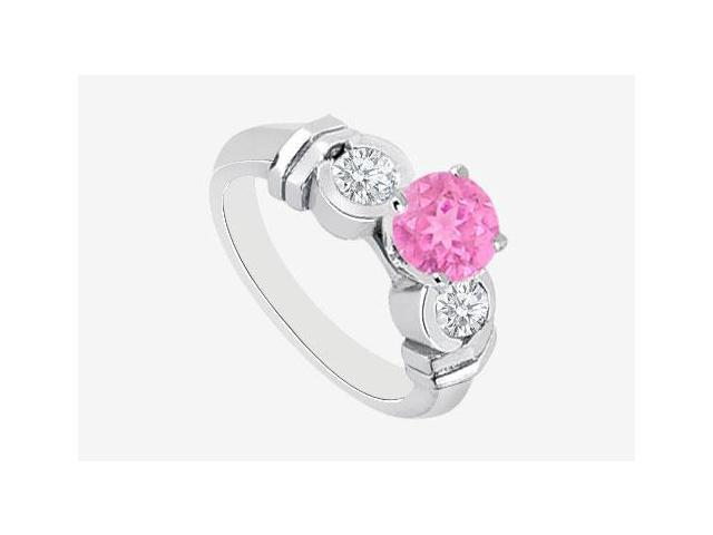 Three Stone Pink Sapphire and Cubic Zirconia Engagement Ring in 14K White Gold 1.40 Carat TGW