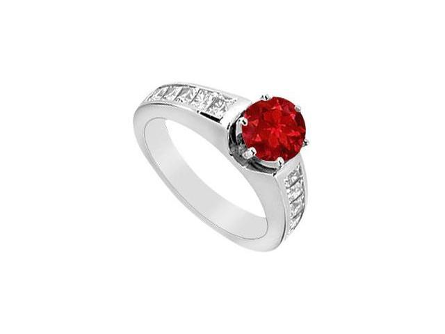 14K White Gold Channel Set Diamonds and Natural Ruby Engagement Ring with 1.50 Carat TGW