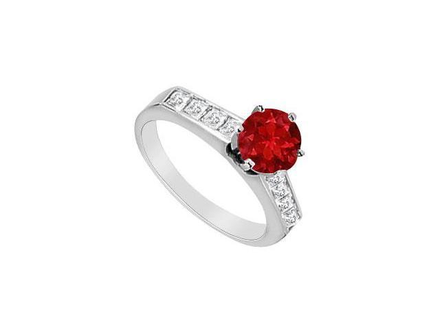 Diamond Princess Cut and Round Ruby Engagement Ring in 14K White Gold 1.10 Carat TGW