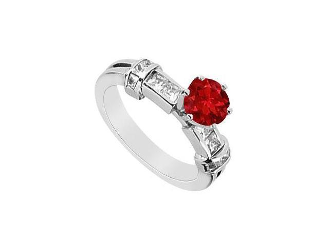 Half Carat Princess Cut Diamond and Natural Ruby Engagement Ring in 14K White Gold 1.00 Carat TG