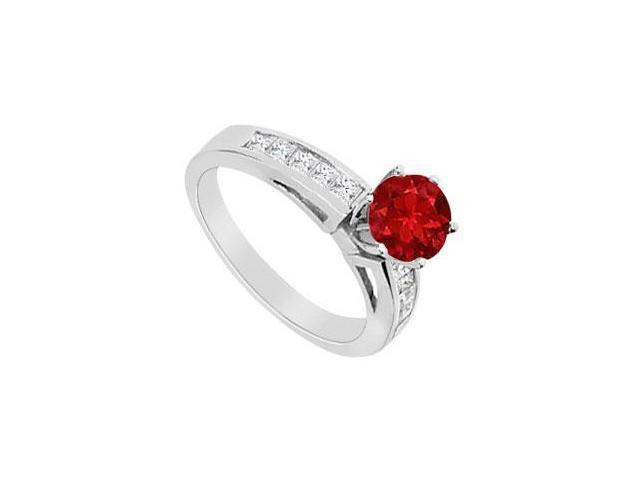 Engagement Ring Natural Ruby with Diamond Princess Cut 1.00 Carat TGW in 14K White Gold